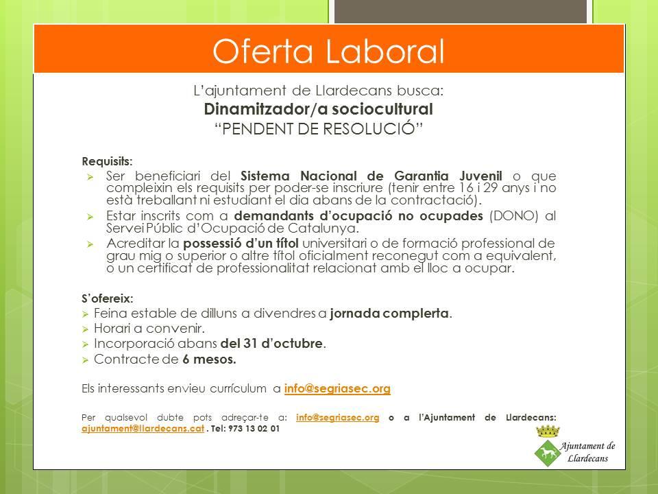 Oferta Ajuntament de Llardecans