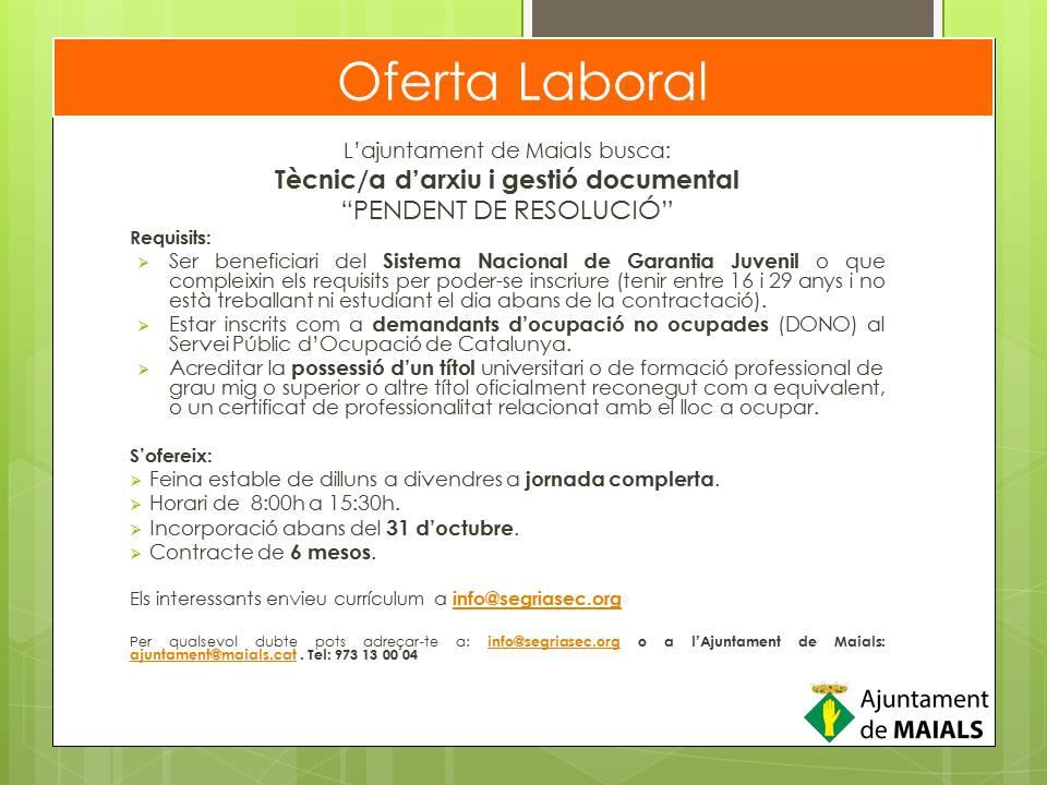 Oferta Ajuntament de Maials