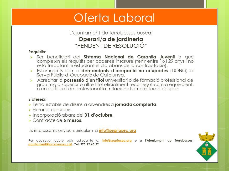 Oferta Ajuntament de Torrebesses